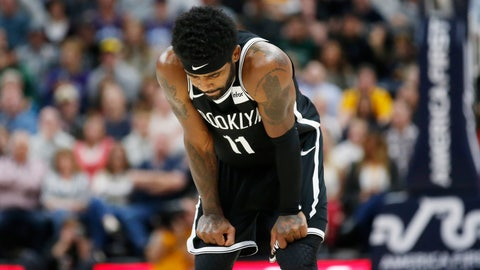 <p>               Brooklyn Nets guard Kyrie Irving (11) looks down at the court during the second half of the team's NBA basketball game against the Utah Jazz on Tuesday, Nov. 12, 2019, in Salt Lake City. (AP Photo/Rick Bowmer)             </p>