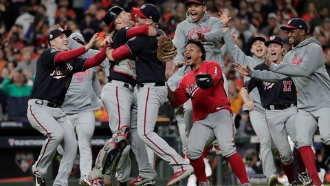 <p>               FILE - In this Oct. 30, 2019, file photo, Washington Nationals' Yan Gomes and Daniel Hudson celebrate after Game 7 of the baseball World Series against the Houston Astros, in Houston. A full postseason share on World Series champion Washington was worth $382,358, down from $416,838 for Boston last year and a record $438,902 for Houston in 2017. The commissioner's office said Tuesday, Nov. 26, 2019, that the Nationals voted 61 full shares, 14.13 partial shares and two cash awards. The Red Sox had 66 full shares, 10.025 partial shares and eight cash awards. The players' pool was $80.86 million, the third-highest behind a record $88.19 million last year and $84.5 million in 2017. (AP Photo/David J. Phillip, File)             </p>