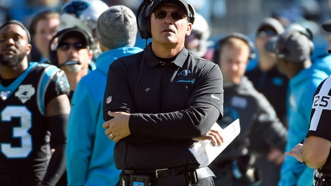 <p>               Carolina Panthers head coach Ron Rivera looks on during the first half of an NFL football game against the Tennessee Titans in Charlotte, N.C., Sunday, Nov. 3, 2019. (AP Photo/Mike McCarn)             </p>