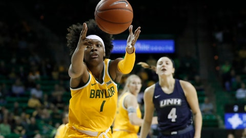 <p>               Baylor forward NaLyssa Smith (1) reaches out for a loose ball in front of New Hampshire's Ivy Gogolin (4) in the first half of an NCAA college basketball game in Waco, Texas, Tuesday, Nov. 5, 2019. (AP Photo/Tony Gutierrez)             </p>