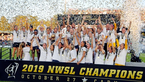 <p>               The North Carolina Courage celebrate with the championship trophy following their win over the Chicago Red Stars in an NWSL championship soccer game in Cary, N.C., Sunday, Oct. 27, 2019. (AP Photo/Karl B DeBlaker)             </p>