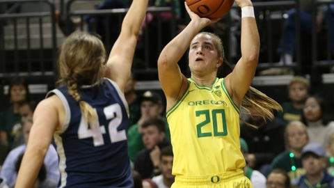 <p>               Oregon's Sabrina Ionescu, right, shots over Utah State's Taylor Franson during the second quarter of an NCAA college basketball game in Eugene, Ore., Wednesday, Nov. 13, 2019. (AP Photo/Chris Pietsch)             </p>