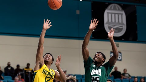 <p>               Baylor guard Jared Butler (12) shoots while Ohio guard Lunden McDay (15) defends during the first half of an NCAA college basketball game at the Myrtle Beach Invitational in Conway, S.C., Thursday, Nov. 21, 2019. (AP Photo/Gerry Broome)             </p>