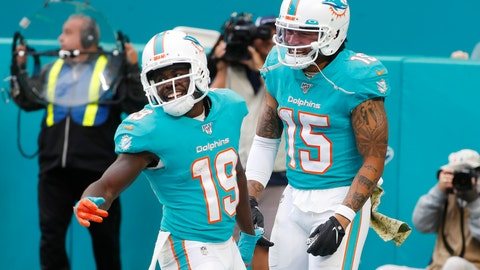 <p>               Miami Dolphins wide receiver Albert Wilson (15), congratulates wide receiver Jakeem Grant (19), after Grant scored a touchdown during the second half at an NFL football game against the Buffalo Bills, Sunday, Nov. 17, 2019, in Miami Gardens, Fla. (AP Photo/Wilfredo Lee)             </p>