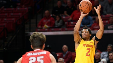 <p>               Maryland guard Aaron Wiggins (2) shoots in front of Fairfield guard Landon Taliaferro (25) during the first half of an NCAA college basketball game, Tuesday, Nov. 19, 2019, in College Park, Md. (AP Photo/Nick Wass)             </p>