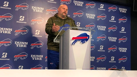 """<p>               Buffalo Bills offensive coordinator Brian Daboll addresses the media at the team's headquarters on Monday, Nov. 18, 2019, a day following a 37-20 win over the Miami Dolphins. Daboll turned heads by sporting a new look, in which he shaved off his beard and grew a moustache. Daboll joked the switch had nothing to do with the Bills posting season highs in points and yards offense (424). Noting his wife doesn't like the moustache, Daboll laughed when asked if he expects to keep it, by saying: """"I sleep next to my wife every night, so you never know when you wake up."""" (AP Photo/John Wawrow)             </p>"""