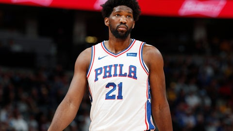 <p>               Philadelphia 76ers center Joel Embiid looks to the bench during a break in the first half of an NBA basketball game against the Denver Nuggets, Friday, Nov. 8, 2019, in Denver. (AP Photo/David Zalubowski)             </p>