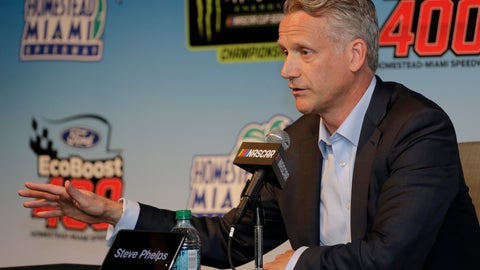 <p>               NASCAR President Steve Phelps speaks to the media during a press conference before the NASCAR Cup Series auto race on Sunday, Nov. 17, 2019, at Homestead-Miami Speedway in Homestead, Fla. (AP Photo/Terry Renna)             </p>