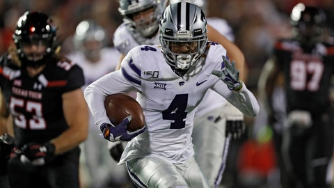 <p>               Kansas State's Malik Knowles (4) runs with the ball during the second half of the team's NCAA college football game against Texas Tech, Saturday, Nov. 23, 2019, in Lubbock, Texas. (Brad Tollefson/Lubbock Avalanche-Journal via AP)             </p>
