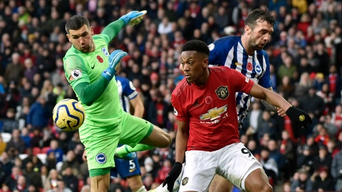 <p>               Brighton's goalkeeper Mathew Ryan, left, makes a save in front of Manchester United's Anthony Martial during the English Premier League soccer match between Manchester United and Brighton and Hove Albion, at the Old Trafford stadium in Manchester, England, Sunday, Nov. 10, 2019. (AP Photo/Rui Vieira)             </p>