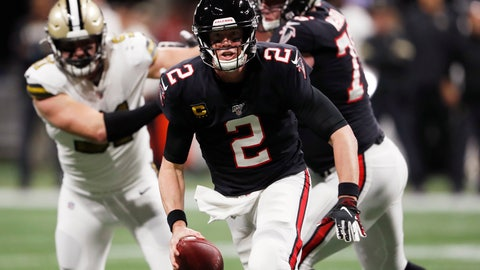 <p>               Atlanta Falcons quarterback Matt Ryan (2) runs out of the pocket against the New Orleans Saints during the first half of an NFL football game, Thursday, Nov. 28, 2019, in Atlanta. (AP Photo/John Bazemore)             </p>
