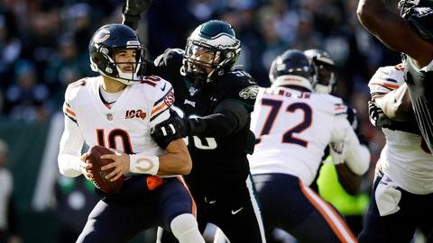 <p>               Chicago Bears' Mitchell Trubisky (10) is tackled by Philadelphia Eagles' Derek Barnett (96) during the first half of an NFL football game, Sunday, Nov. 3, 2019, in Philadelphia. (AP Photo/Matt Rourke)             </p>