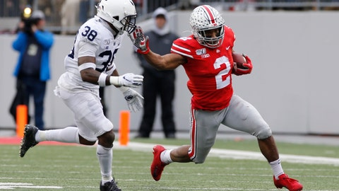 <p>               Ohio State running back J.K. Dobbins, right, cuts up field against Penn State defensive back Lamont Wade during the first half of an NCAA college football game Saturday, Nov. 23, 2019, in Columbus, Ohio. (AP Photo/Jay LaPrete)             </p>