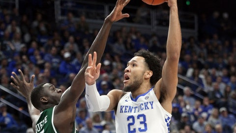 <p>               Kentucky's EJ Montgomery (23) shoots while defended by UAB's Makhtar Gueye during the first half of an NCAA college basketball game in Lexington, Ky., Friday, Nov. 29, 2019. (AP Photo/James Crisp)             </p>