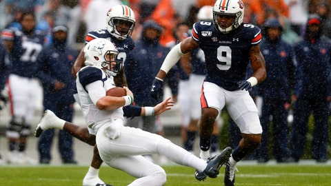 <p>               Samford quarterback Liam Welch (7) slides after carrying the ball for a first down as Auburn defensive back Jamien Sherwood (9) closes in during the first half of an NCAA college football game, Saturday, Nov. 23, 2019, in Auburn, Ala. (AP Photo/Butch Dill)             </p>