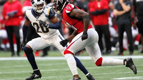 <p>               FILE - In this Oct. 20, 2019, file photo, Los Angeles Rams cornerback Jalen Ramsey (20) covers Atlanta Falcons wide receiver Julio Jones (11) during the first half of an NFL football game in Atlanta. Ramsey makes his home debut for the Rams this weekend, over a month after they acquired the star cornerback in a trade with Jacksonville. Ramsey's arrival has been one of the smoothest aspects of the past few weeks for the Rams, who are in danger of falling out of the playoff race due to a sputtering offense. (AP Photo/John Bazemore, File)             </p>