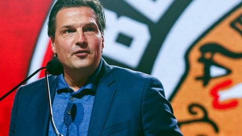<p>               FILE -  In this July 26, 2019, file photo, former Chicago Blackhawks player Eddie Olczyk speaks during the NHL hockey team's convention in Chicago. Now more than 24 months since being declared cancer free, Olczyk is the NHL's 2019 Hockey Fights Cancer ambassador and released a book to tell his story. He beat cancer but wants to help others dealing with  (AP Photo/Amr Alfiky, File)             </p>