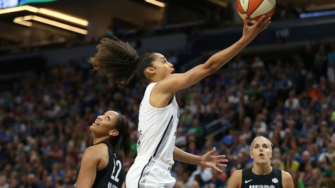 <p>               FILE - In this July 28, 2018, file photo, Team Candace Parker's Skylar Diggins-Smith, center, goes to the basket past Team Delle Donne's A'ja Wilson (22) during the first half of the WNBA All-Star basketball game in Minneapolis. Diggins-Smith was excited to be back on the court and playing for USA Basketball after missing all of this past WNBA season because she gave birth to a son last spring. The Wings guard is part of the U.S. women's national team that will play four exhibition games against college teams--starting with No. 3 Stanford on Saturday--before heading to Argentina to play in a FIBA tournament. (AP Photo/Stacy Bengs, File)             </p>