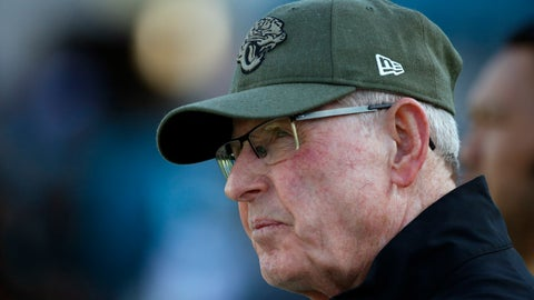 <p>               File-This photo taken Aug. 29, 2019, shows Tom Coughlin, executive vice president of football operations for the Jacksonville Jaguars watching players warm up before an NFL preseason football game in Jacksonville, Fla. Owner Shad Khan has a decision to make about the Jaguars (4-7), who are on the verge of missing the playoffs for the 11th time in the last 12 years. Khan hired Coughlin and head coach Doug Marrone at the same time in 2017, adding them to incumbent general manager Dave Caldwell and creating a triumvirate that worked well for two seasons. It now appears to be falling apart. Marrone took a shot at Coughlin on Tuesday, the first clear sign of internal strife. (AP Photo/Stephen B. Morton, File)             </p>