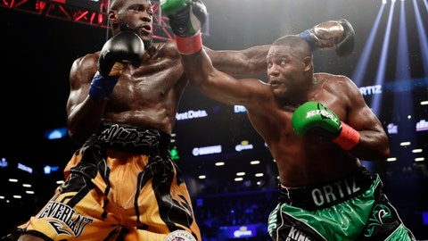 <p>               FILE - In this March 3, 2018, file photo, Deontay Wilder, left, and Luis Ortiz trade punches during the third round of a WBC heavyweight championship bout in New York. Wilder is awkward but dangerous, a string bean of a heavyweight with a crushing right hand that can change everything in a fraction of a second. Luis Ortiz is a big puncher, too, though there are questions about both his stamina and age going into Saturday's rematch with Wilder that serves as an appetizer for what comes next. (AP Photo/Frank Franklin II, File             </p>