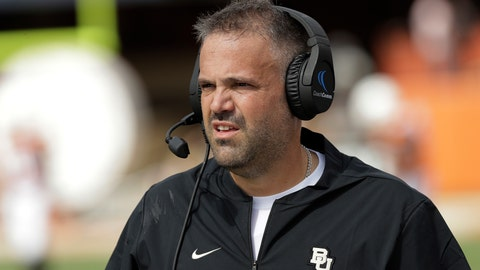 <p>               FILE - In this Oct. 13, 2018, file photo, Baylor head coach Matt Rhule watches from the sideline during the first half of an NCAA college football game against Texas, in Austin, Texas. Rhule may have only been joking when he said he sometimes still wakes up in the middle of the night haunted by the memory of those highlight plays TCU's Jalen Reagor made against the Bears last season. But that was in the last loss for the Bears, when Reagor pretty much single-handedly beat them by turning a screen pass into a 65-yard touchdown and running 37 yards for a score on a fourth-and-1 reverse. (AP Photo/Eric Gay, File)             </p>