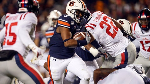 <p>               Auburn running back D.J. Williams (3) carries the ball during the first half of the team's NCAA college football game against Mississippi, Saturday, Nov. 2, 2019, in Auburn, Ala. (AP Photo/Butch Dill)             </p>