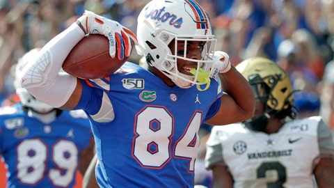 <p>               Florida tight end Kyle Pitts (84) celebrates after scoring a touchdown on a 15-yard pass reception during the second half of an NCAA college football game against Vanderbilt, Saturday, Nov. 9, 2019, in Gainesville, Fla. (AP Photo/John Raoux)             </p>