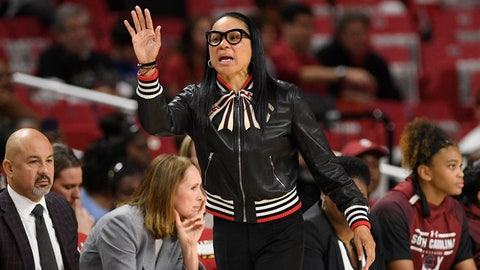 <p>               South Carolina head coach Dawn Staley gestures during the first half of an NCAA college basketball game against Maryland, Sunday, Nov. 10, 2019, in College Park, Md. (AP Photo/Nick Wass)             </p>