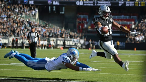 <p>               Oakland Raiders running back Josh Jacobs (28) runs for a touchdown past Detroit Lions defensive back Miles Killebrew during the first half of an NFL football game in Oakland, Calif., Sunday, Nov. 3, 2019. (AP Photo/John Hefti)             </p>
