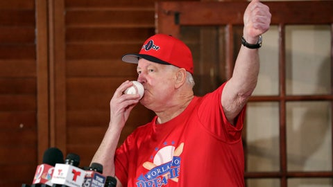 <p>               Pat Williams, co-founder of the NBA Orlando Magic basketball team, kisses a baseball at a news conference to announce a campaign to bring a Major League Baseball team to Orlando, Wednesday, Nov. 20, 2019 in Orlando, Fla. Williams brought good luck to the Orlando Magic by kissing ping pong balls before the NBA draft two years in a row bringing the number one picks twice. (AP Photo/John Raoux)             </p>