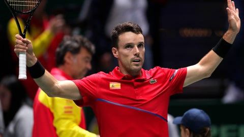 <p>               Spain's Roberto Bautista celebrates after his victory over Croatia's Nikola Mektic during a Davis Cup tennis match in Madrid, Spain, Wednesday, Nov. 20, 2019. (AP Photo/Manu Fernandez)             </p>