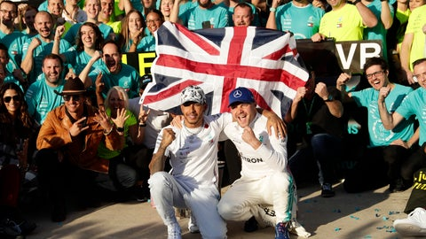 <p>               Mercedes driver Lewis Hamilton, left, of Britain, and Mercedes driver Valtteri Bottas, of Finland, celebrate following the Formula One U.S. Grand Prix auto race at the Circuit of the Americas, Sunday, Nov. 3, 2019, in Austin, Texas. (AP Photo/Eric Gay)             </p>