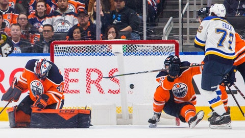 <p>               Edmonton Oilers goalie Mike Smith (41) lets in a St. Louis Blues goal as Matt Benning falls and St. Louis Blues Justin Faulk (72) watches during the second period of an NHL hockey game Wednesday, Nov. 6, 2019, in Edmonton, Alberta. (Amber Bracken/The Canadian Press via AP)             </p>