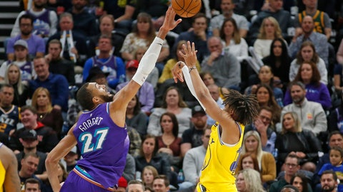 <p>               Utah Jazz center Rudy Gobert (27) blocks the shot of Golden State Warriors guard Jordan Poole during the second half during an NBA basketball game Friday, Nov. 22, 2019, in Salt Lake City. (AP Photo/Rick Bowmer)             </p>