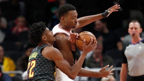 <p>               Atlanta Hawks guard Cam Reddish (22) and Chicago Bulls forward Otto Porter Jr. (22) vie for control of the ball in the first half of an NBA basketball game Wednesday, Nov. 6, 2019, in Atlanta. (AP Photo/John Bazemore)             </p>
