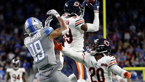 <p>               Chicago Bears free safety Eddie Jackson (39) intercepts a pass intended for Detroit Lions wide receiver Kenny Golladay (19) to seal the win over the Lions during the second half of an NFL football game, Thursday, Nov. 28, 2019, in Detroit. (AP Photo/Rick Osentoski)             </p>