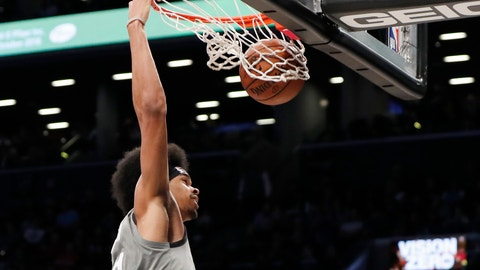 <p>               Brooklyn Nets center Jarrett Allen dunks during the second half of the team's NBA basketball game against the Charlotte Hornets, Wednesday, Nov. 20, 2019, in New York. (AP Photo/Kathy Willens)             </p>