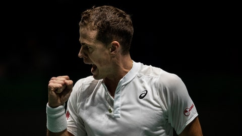 <p>               Canada's Vasek Pospisil celebrates a point during the Davis Cup tennis match against Italy's Fabio Fognini in Madrid, Spain, Monday, Nov. 18, 2019. (AP Photo/Bernat Armangue)             </p>
