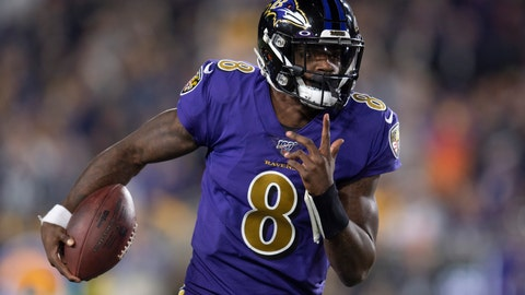 <p>               Baltimore Ravens quarterback Lamar Jackson runs against the Los Angeles Rams during the first half of an NFL football game Monday, Nov. 25, 2019, in Los Angeles. (AP Photo/Kyusung Gong)             </p>