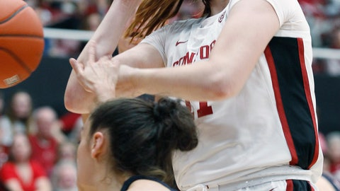 <p>               Stanford's Ashten Prechtel loses the ball as Gonzaga's Jenn Wirth defends during the first half of an NCAA college basketball game Sunday, Nov. 17, 2019, in Stanford, Calif. (AP Photo/George Nikitin)             </p>