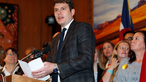 <p>               FILE--In this Friday, April 12, 2019, file photograph, Colorado Rep. Alec Garnett, D-Denver, speaks during a ceremony in the State Capitol in Denver. Garnett is co-sponsoring a proposal in the Legislature to dedicate a limited revenue stream from legalized sports betting to a state water conservation plan. Before that, though, voters will cast ballots Tuesday, Nov. 5, on whether to legalize sports betting in the state and tax the revenues to help conserve water. (AP Photo/David Zalubowski, File)             </p>