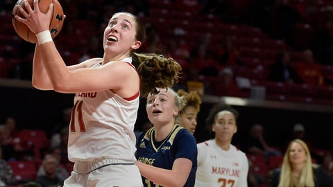 <p>               Maryland's Taylor Mikesell drives to the basket as George Washington's Tori Hyduke follows during an NCAA basketball game on Wednesday, Nov. 20, 2019 in College Park, Md. (AP Photo/Gail Burton)             </p>