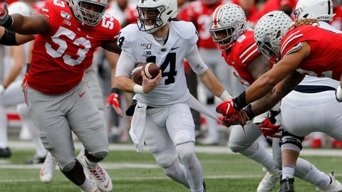 <p>               Ohio State defensive lineman Davon Hamilton, left, defensive lineman Taron Vincent, second from right, and defensive end Chase Young, right, put the pressure on Penn State quarterback Sean Clifford during the first half of an NCAA college football game Saturday, Nov. 23, 2019, in Columbus, Ohio. (AP Photo/Jay LaPrete)             </p>