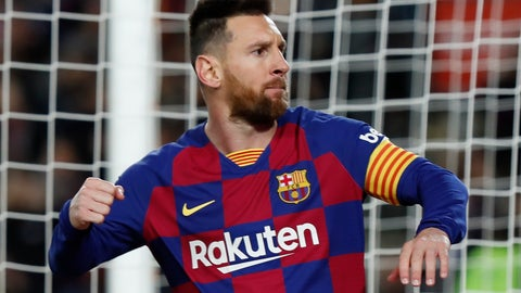 <p>               Barcelona's Lionel Messi celebrates scoring his side's first goal with a penalty during a Spanish La Liga soccer match between Barcelona and Celta at Camp Nou stadium in Barcelona, Saturday, Nov. 9, 2019. (AP Photo/Joan Monfort)             </p>