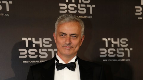 <p>               FILE - In this Sept. 23, 2019, file photo, Jose Mourinho arrives to attend the Best FIFA soccer awards, in Milan's La Scala theater, northern Italy. Tottenham has hired  Mourinho as manager, a day after firing Mauricio Pochettino. (AP Photo/Luca Bruno, File)             </p>