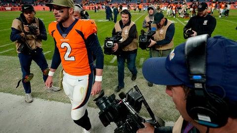 <p>               Denver Broncos quarterback Brandon Allen (2) leaves the field after an NFL football game against the Cleveland Browns, Sunday, Nov. 3, 2019, in Denver. The Broncos won 24-19. (AP Photo/Jack Dempsey)             </p>