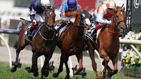 <p>               Jockey Craig Williams, right, rides Vow and Declare to victory in the Melbourne Cup in Melbourne, Australia, Tuesday, Nov. 5, 2019. (Scott Barbour/AAP Image via AP)             </p>