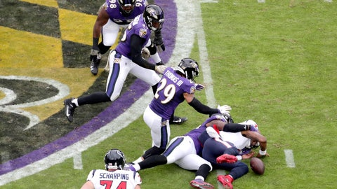 <p>               Houston Texans quarterback Deshaun Watson, right, fumbles the ball while being sacked by Baltimore Ravens outside linebacker Matt Judon during the first half of an NFL football game, Sunday, Nov. 17, 2019, in Baltimore. (AP Photo/Julio Cortez)             </p>
