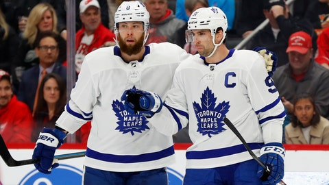 <p>               Toronto Maple Leafs center John Tavares (91) celebrates his goal with Jake Muzzin (8) in the first period of an NHL hockey game against the Detroit Red Wings, Wednesday, Nov. 27, 2019, in Detroit. (AP Photo/Paul Sancya)             </p>