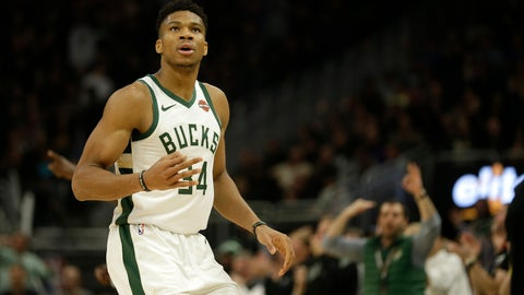 <p>               Milwaukee Bucks' Giannis Antetokounmpo reacts after making a 3-pointer during the second half of an NBA basketball game against the Utah Jazz Monday, Nov. 25, 2019, in Milwaukee. (AP Photo/Aaron Gash)             </p>